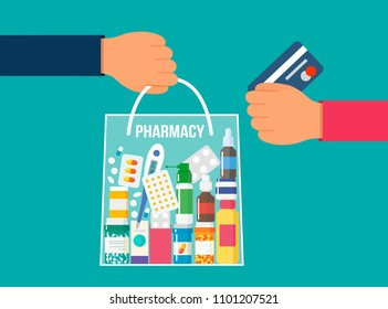 Full package of medicines and vitamins. Purchase and delivery of goods from pharmacy the concept of pharmaceutical business and purchase online. flat vector illustration