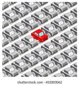 Full parking lot with monotone gray cars, one red car standing out (isometric illustration)