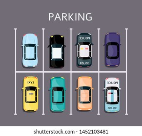 Full parking lot top view - colorful cars parked in rectangle grid vehicle park system, flat cartoon poster banner of busy urban zone for vity transport placement - vector illustration