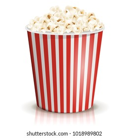 A full red-and-white striped bucket of popcorn isolated on the white background. Large or big portion. Vector illustration. Cardboard or paper bucket. Cinema snack and movie food.