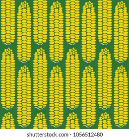 Full repeated corn pattern green background. A playful, modern, and flexible pattern for food brand. Repeated pattern. Delicious corn.