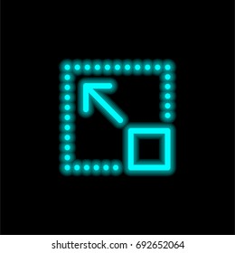 Full screen blue glowing neon ui ux icon. Glowing sign logo vector