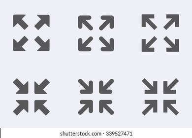 Full screen and exit full screen icon set . Vector illustration