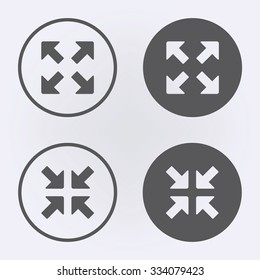 Full screen icon set in circle . Vector illustration