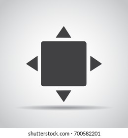 Full screen icon with shadow on a gray background. Vector illustration