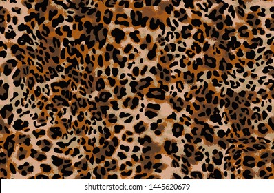 Full seamless jaguar cheetah animal skin pattern. Design for leopard colored textile fabric printing. Suitable for fashion use.
