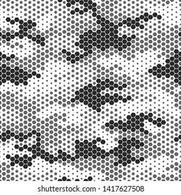 Full seamless modern dots halftone camouflage pattern for decor and textile. Black and gray dotted design for textile fabric printing and wallpaper. Army model design for fashion and home design.