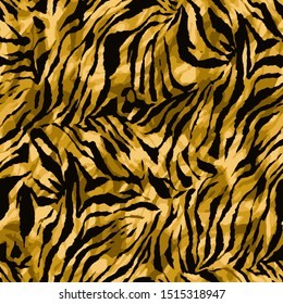 Full seamless wallpaper for zebra and tiger stripes animal skin pattern. Black and gold design for textile fabric printing. Fashionable and home design fit.