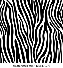 Full Seamless Zebra Animal Skin Pattern in Vector Black And White Abstract Zigzag illustration