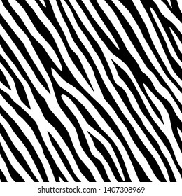Full seamless zebra animal skin pattern. Black and white design for textile fabric printing. Suitable for fashion use.