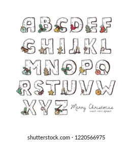 Full set of Christmas alphabet vector winter holidays sketched letters isolated on white background with symbols and ornaments of Merry Christmas and Happy New Year