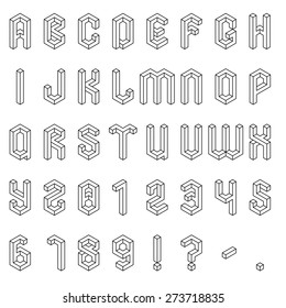 Full set of isometric alphabet and numbers