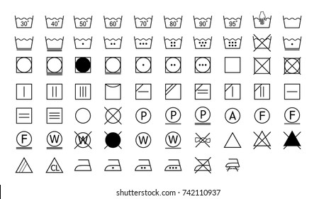 full set of laundry washing instruction icons