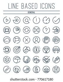 A full set of line based general icons set inside circles