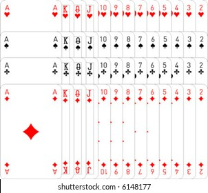 Full set of vector playing cards; fully editable