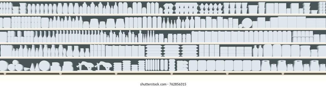 full shelves of meals silhouette