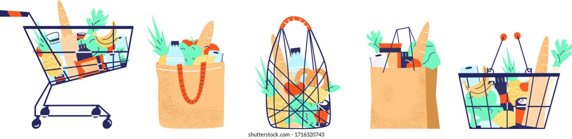 Full shopping bags, baskets, cart, string bag with groceries set. Fruits, vegetables, baguette, canned food. Grocery purchase. Isolated on white. Flat vector illustration.