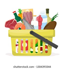 Full shopping basket. Food store, supermarket. Set of fresh, healthy and natural product. Vector illustration