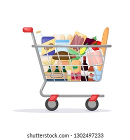 Full shopping cart. Food store, supermarket. Set of fresh, healthy and natural product. Vector illustration