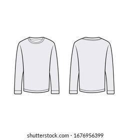 full sleeves t shirt tech pack template vector.