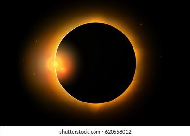 Full solar eclipse phenomenon. Vector illustration for design