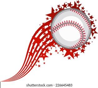 Full Star Flying Baseball Ball vector illustration.