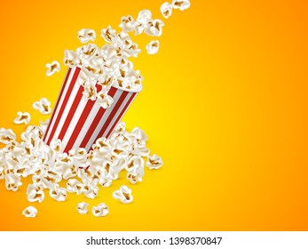 Full striped bucket with falling popcorn on yellow background. Realistic vector illustration, cinema or movie food promotional background.