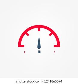 Full tank, clock face fuel measurements, dashboard scale, car control sensor