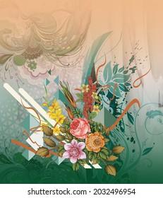 Full textile digital bold design pattren floral flower