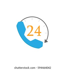Full time call services flat icon, business, help and support sign, a colorful solid pattern on a white background, eps 10.