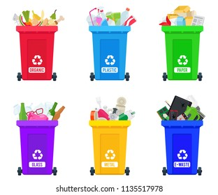 Full trash cans with sorted trash vector set. Different types of garbage: Organic, Plastic, Metal, Paper, Glass, E-waste. Vector collection of colorful trash bins for educational infographics.