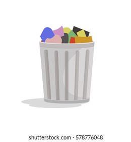 Full Trashcan Flat Vector Illustration.