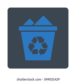 Full Trashcan vector icon. Style is flat rounded square button, smooth blue colors, white background.