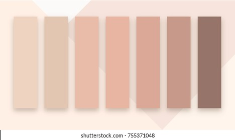 Full vector set of human skin colors from bright to dark. Color samples of skin in different shades of beige pink and brown.