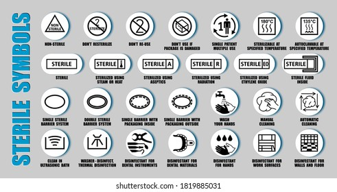 Full vector set of sterilized and disinfectant symbols for medical device package, using ISO, FDA icons. Packaging pictograms of cleaning medicine equipment