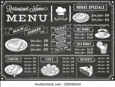 chalkboard menu images stock photos vectors shutterstock