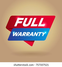 FULL WARRANTY arrow tag sign.