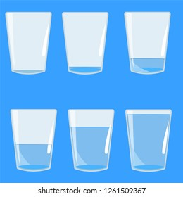 full of water filled cups and empty vector illustration