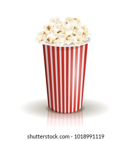 Full white-and-red striped bucket of popcorn isolated on the white background. Middle portion. Vector illustration. Cardboard or paper bucket. Cinema snack and movie food.