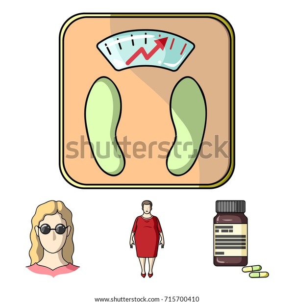 Full woman, a girl with glasses, a scales with exquisite result. Diabeth set collection icons in cartoon style vector symbol stock illustration web.