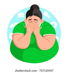 Full woman is upset with her weight. Girl is crying. Flat style vector illustration clipart.