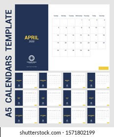 Full Year Table Calendar of 2020 in A5 layout template