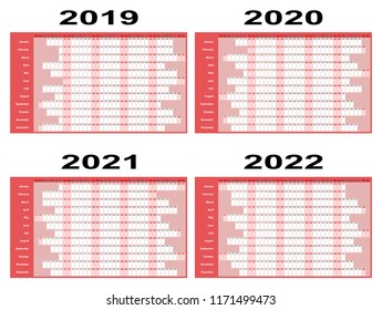 Full year wall planners for 2019, 2020, 2021 and 2022.