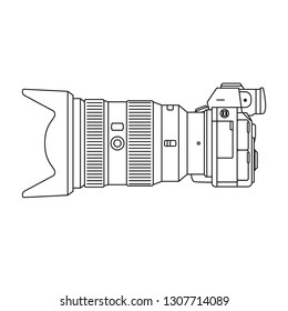 Full-frame mirrorless camera side view outlines flat illustration