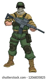Full-length illustration of masked soldier on patrol, holding machine gun.