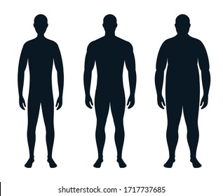 full-length male silhouette. body, human figure. thin, fat and athletic man. vector illustration.