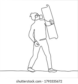 a full-length man in a gas mask holds a shield in front of him for protection. One continuous line art protester, revolting citizen, activist during protest (military) activities