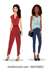 Full-length portrait of two beautiful young girls wearing colorful stylish clothes. Vector fashion illustration.