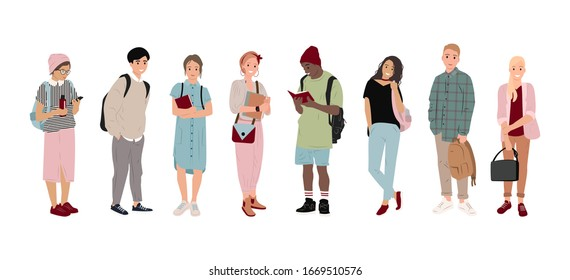Full-length students, multicultural students in flat style. Boys and girls are holding bags, phones and books. Happy and joyful teens, students. Isolated people. Fashion teens, Vector illustration