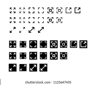 Fullscreen Icon Design Vector Symbol Set Expand Maximize Screen